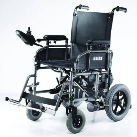 Image of Merits Health Travel-Ease P101 Folding Power Chair With Joystick Mounted On Right Armrest