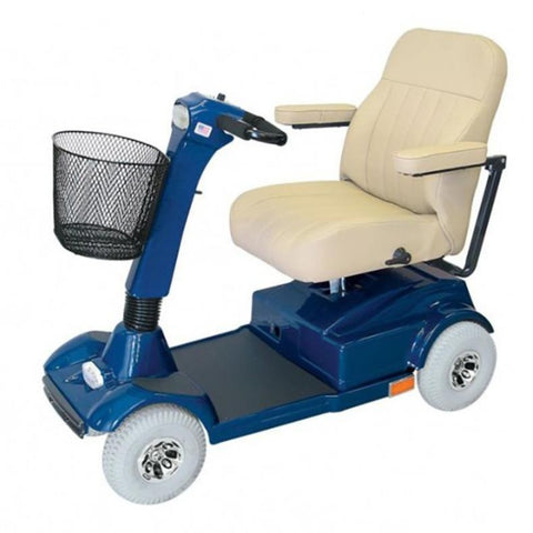 PaceSaver Eclipse Atlas 4-Wheel Bariatric Scooter 15073 With Cream Colored Seat And Blue Details