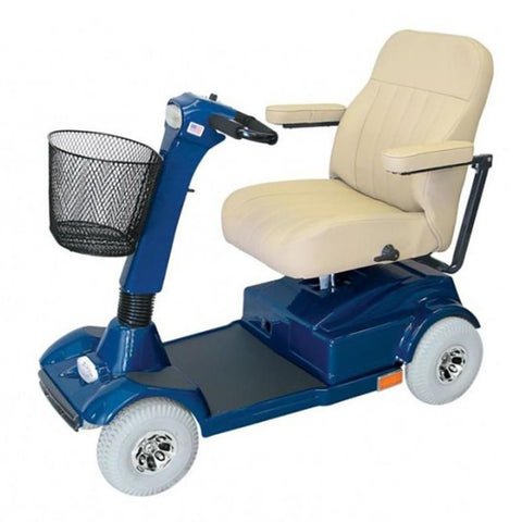 PaceSaver Eclipse Atlas 5 4-Wheel Bariatric Scooter 15087 In Blue With Cream Colored Seat And Large Gray Tires
