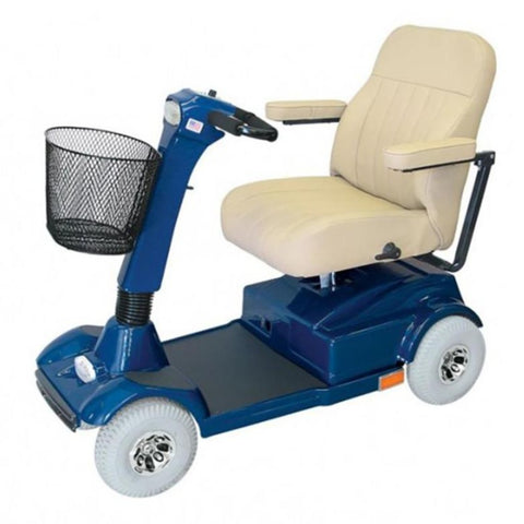 Image of PaceSaver Eclipse Premier 4-Wheel Bariatric Scooter 15072 With Cream Captain's Seat And Blue Details With Front Basket