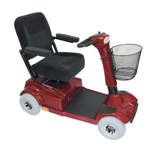 PaceSaver Eclipse Premier 4-Wheel Bariatric Scooter 15072 With Black Fabric Seat And Red Details And Large Front Basket