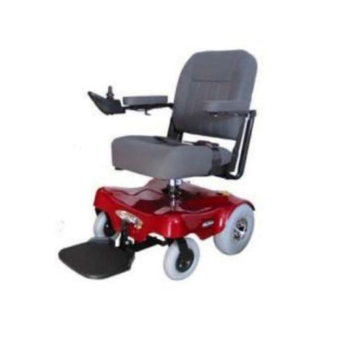 Image of PaceSaver Scout M1 Convertible 350 Power Chair 81855 In Red With Comfortable Seat And Large Rear Tires