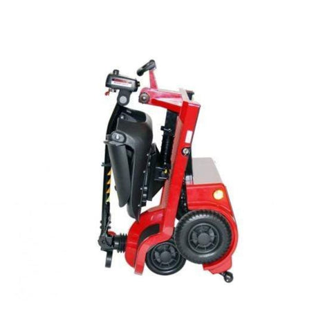 Image of Shoprider Echo Folding 4 Wheel Mobility Scooter FS777 In Red Folded For Travel