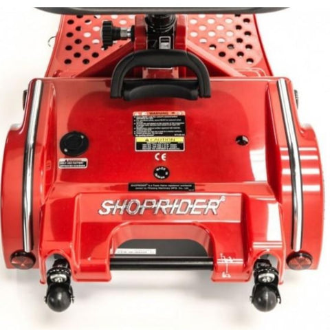 Shoprider Echo Folding 4 Wheel Mobility Scooter FS777 In Red Rear View Of Brake Lights And Anti-Tip Wheels