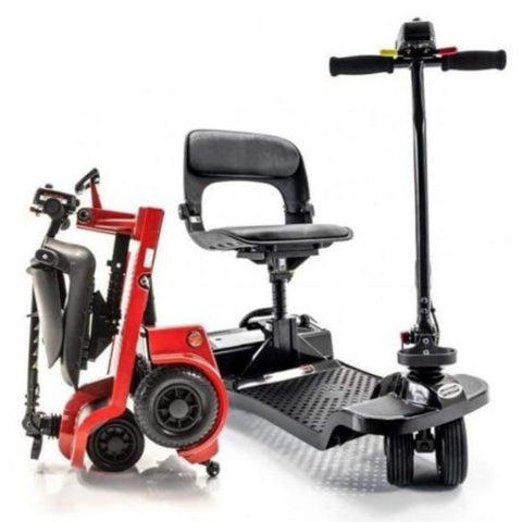 Image of Shoprider Echo Folding 4 Wheel Mobility Scooter FS777 Shown Folded And Unfolded