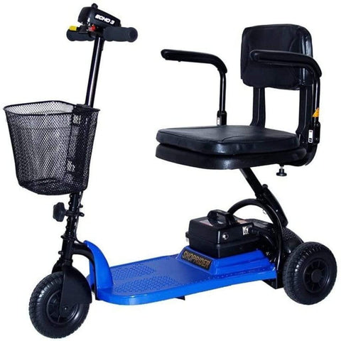 Shoprider Echo Light Weight 3 Wheel Folding Mobility Scooter SL73 In Blue With Front Basket Attached To Tiller