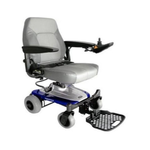Image of Shoprider Smartie Portable Power Chair UL8W In Blue With Joystick Mounted On Left Armrest