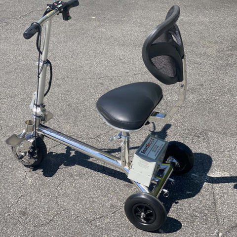 Image of SmartScoot Lightweight Foldable Mobility Scooter S1200 Left Side View In Parking Lot