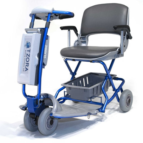 Image of Tzora Blue Classic Portable Mobility Scooter with Gray Rubber Tires and Under-Seat Basket