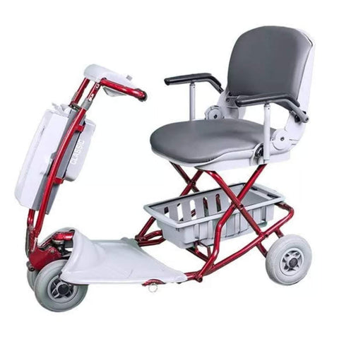 Image of Tzora Red Classic Portable Mobility Scooter with Gray Rubber Tires and Under-Seat Basket