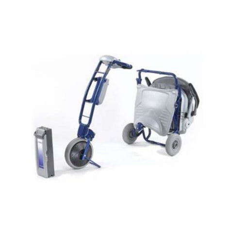 Image of Tzora Elite Blue Folding 3-Wheel Mobility Scooter Disassembled and Folded for Transport