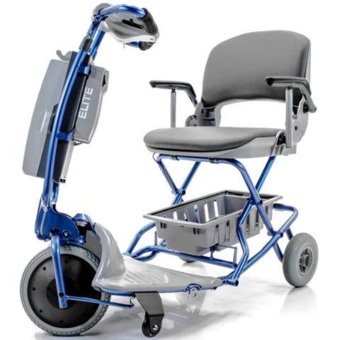 Image of Tzora Elite Blue Folding 3-Wheel Mobility Scooter with Bottom Basket and Anti-Tip Safety Wheels