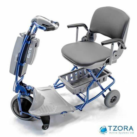 Image of Tzora Elite Blue Folding 3-Wheel Mobility Scooter With Comfortable Seat and Folding Armrests