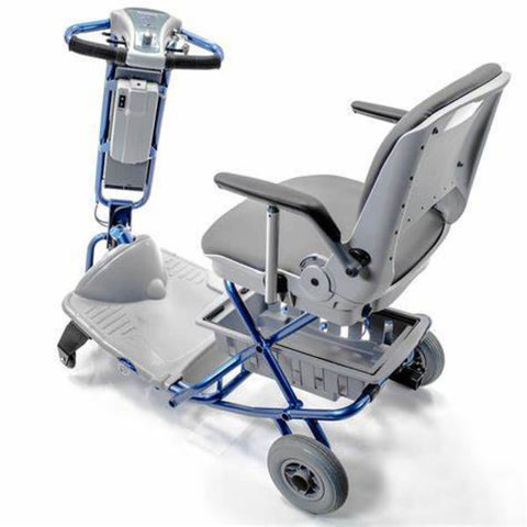 Image of Tzora Elite Blue Folding 3-Wheel Mobility Scooter Left Side View with Rubber Tires and Large Footrest Area Shown