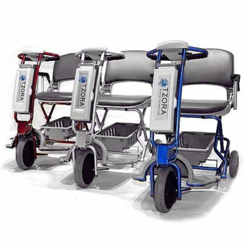Image of Tzora Elite Blue, Silver, and Red Folding 3-Wheel Mobility Scooters Side By Side