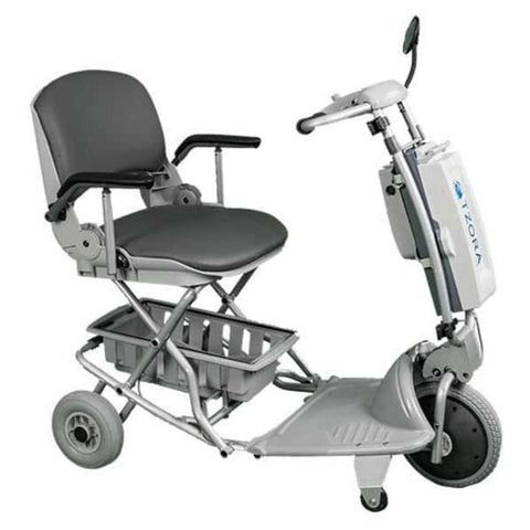Image of Tzora Elite Silver Folding 3-Wheel Mobility Scooter with Bottom Basket and Anti-Tip Safety Wheels Right Side View