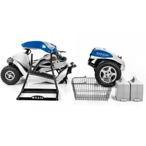 Image of Tzora Hummer XL Titan Blue 4-Wheel Mobility Scooter With Basket and Batteries Removed and Core Pieces Folded