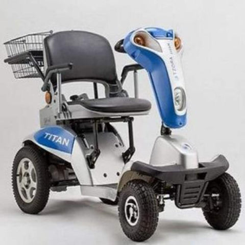 Image of Tzora Hummer XL Titan Blue 4-Wheel Mobility Scooter with Thick Rubber Tires and Comfortable Seat
