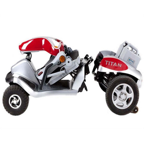 Image of Tzora Hummer XL Titan Red 4-Wheel Mobility Scooter Folded and Detached