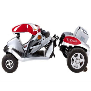 Tzora Hummer XL Titan Red 4-Wheel Mobility Scooter Folded and Detached