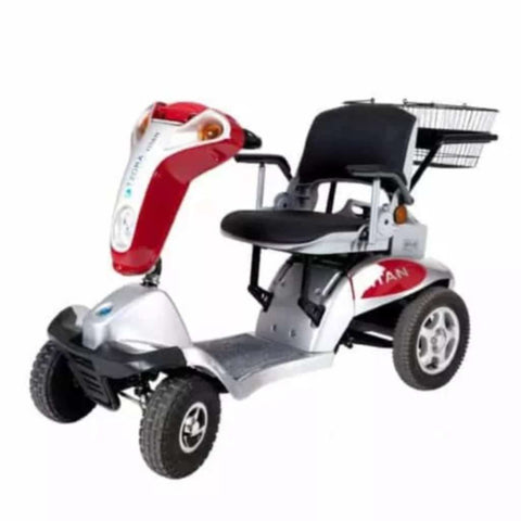 Image of Tzora Hummer XL Titan Red 4-Wheel Mobility Scooter with Rear Basket and Comfortable Seat