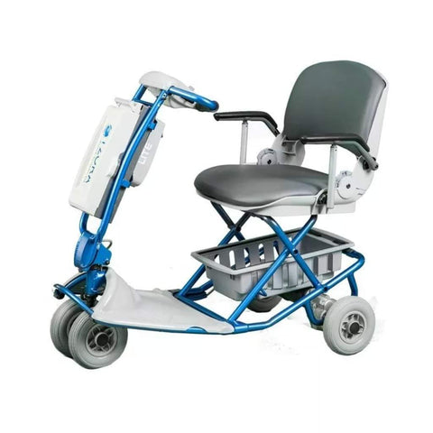 Tzora Lite Blue Folding 4-Wheel Lightweight Mobility Scooter with Bottom Basket Under Seat