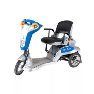 Tzora Titan 3 Blue Folding 3-Wheel Mobility Scooter With Front Caution Lights On and No Rearview Mirror Or Rear Basket Attached