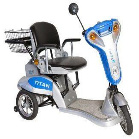 Tzora Titan 3 Blue Folding 3-Wheel Mobility Scooter with Rearview Mirror and Rear Basket Attached