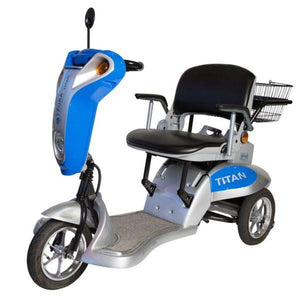 Tzora Titan 3 Folding 3-Wheel Mobility Scooter with Rearview Mirror and Rear Basket Attached