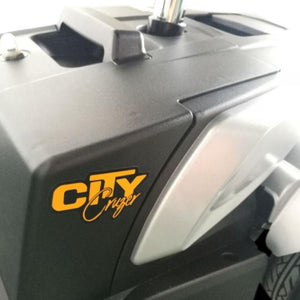 EV Rider CityCruzer Portable 4-Wheel Mobility Scooter Logo On Battery Box