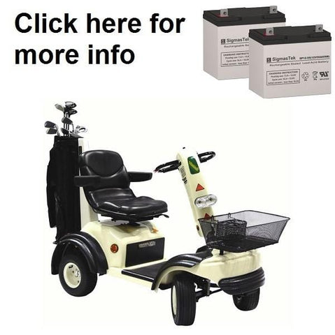 Image of Shoprider GolfRider Scooter Replacement Battery (2 Batteries) SP12-75