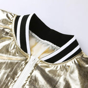 Gold Glossy Baseball Jacket