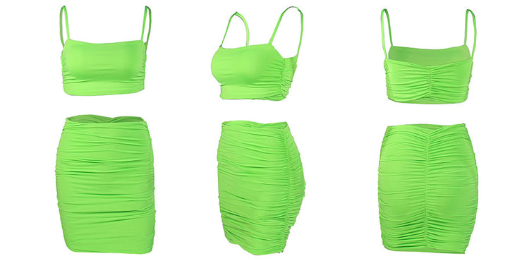 Green Square Neck Two Piece
