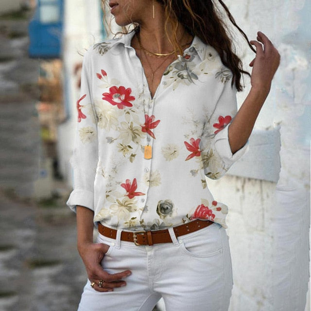 White Classic Chiffon Floral top