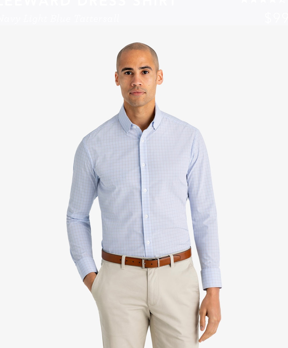 Mizzen+Main Leeward Dixon Light Blue Check Trim Fit