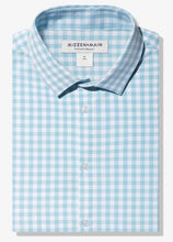 Load image into Gallery viewer, Mizzen+Main Leeward Aqua Gingham Trim Fit or Classic Fit