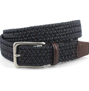 Torino Italian Woven Cotton & Leather Belt- Navy and Brown