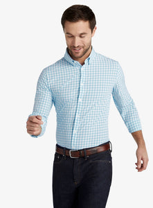 Mizzen+Main Leeward Aqua Gingham Trim Fit or Classic Fit