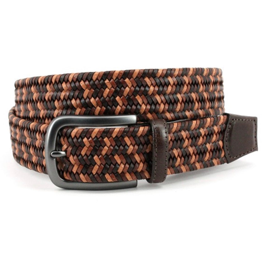 Torino Italian Mimi Strand Woven Stretch Leather Belt- Brown Multi