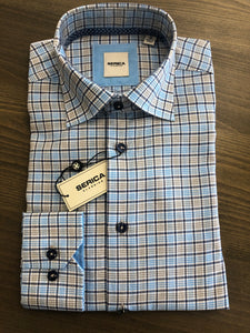 Serica Blue/Tan Check Sport Shirt