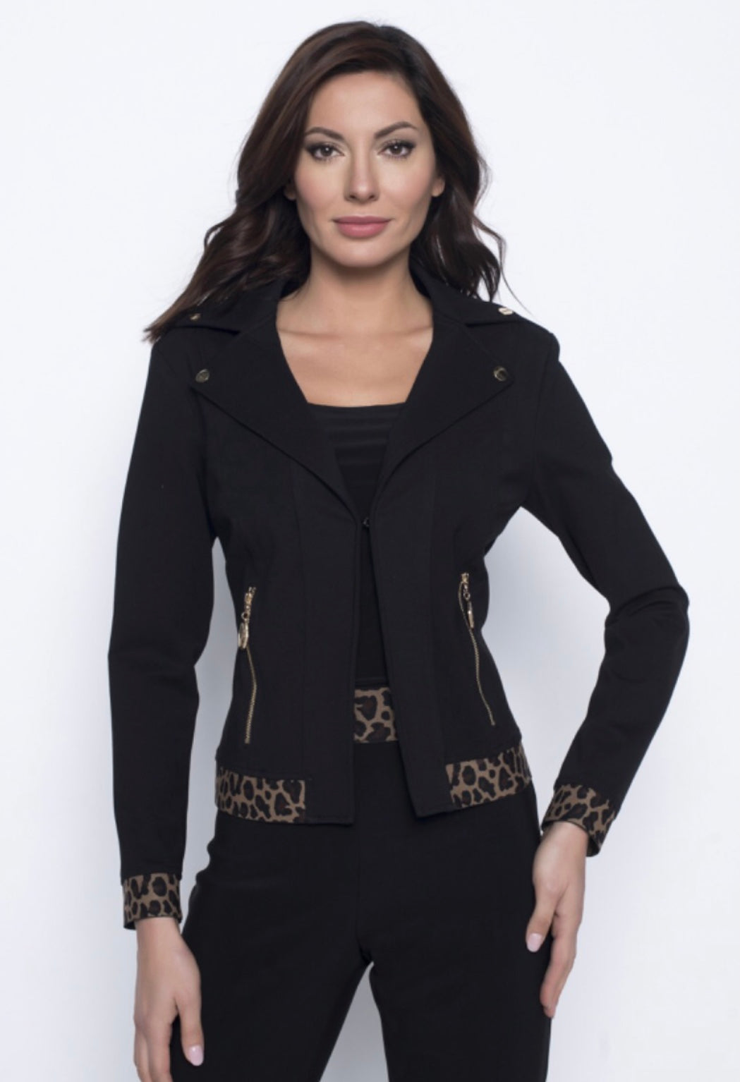 Frank Lyman Animal Trim Black Jacket