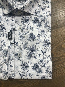 Elite White and Blue Floral Print Dress Shirt