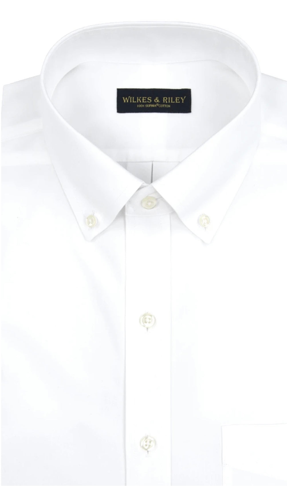 Wilkes & Riley Classic White Button Down Collar- Regular and Big and Tall Fit