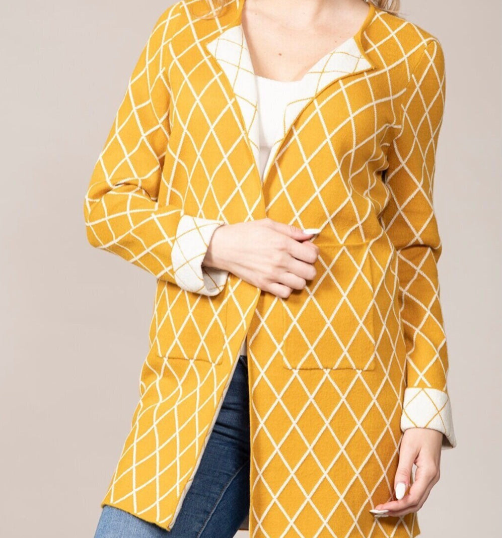 Rain+Rose Mustard Diamond Cardigan