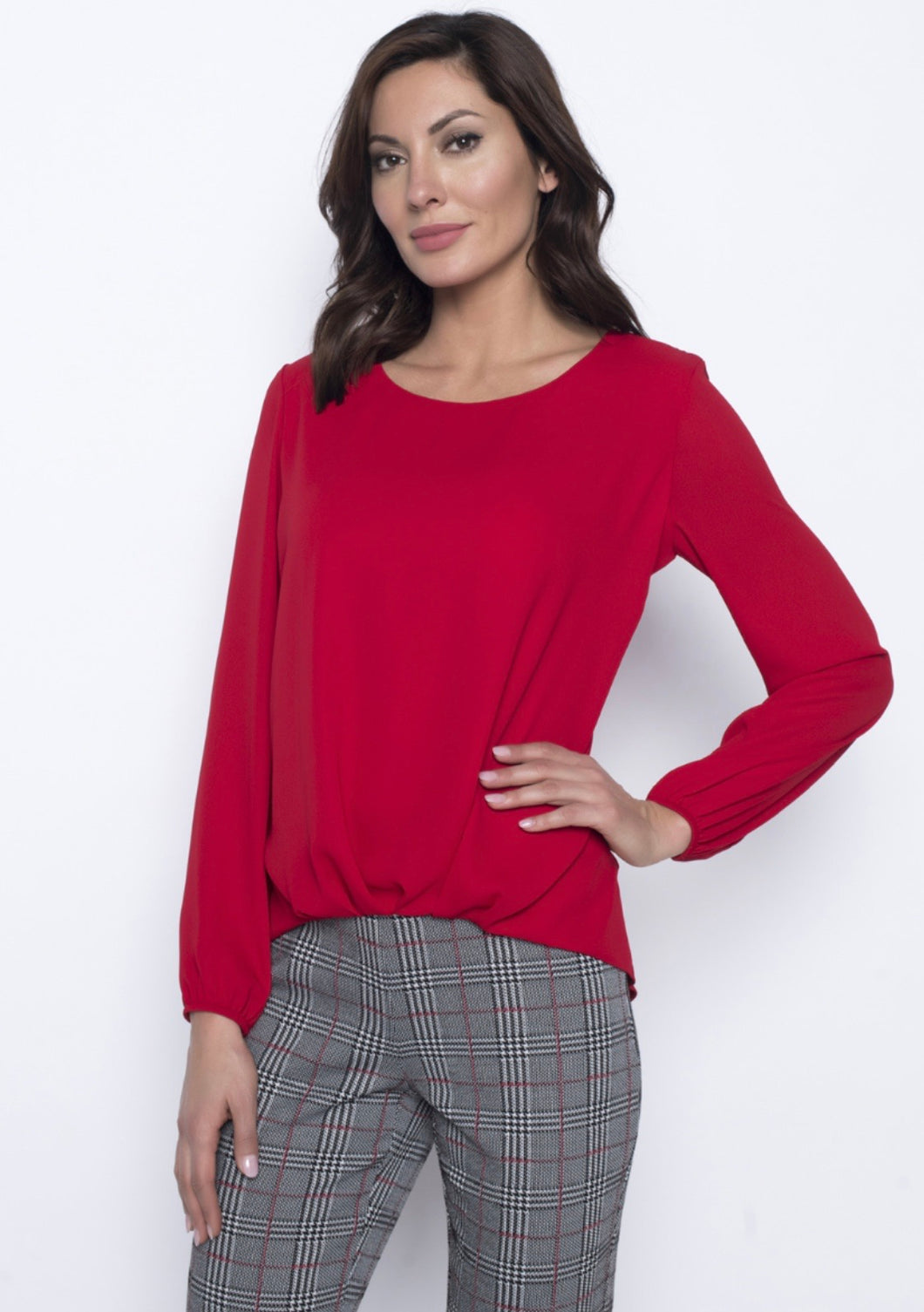 Frank Lyman Tomato Front Tuck Top