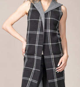 Rain+Rose Plaid Long Vest