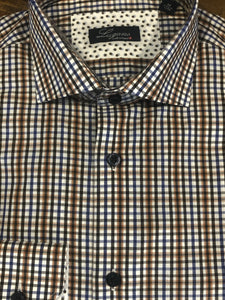 🔥Lugano Brown/Blue Tattersall Sport Shirt
