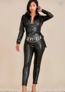 Dripping Faux leather jumpsuit