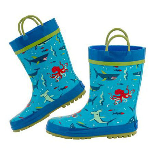 Stephen Joseph All Over Print Rainboots -Sharks 8T