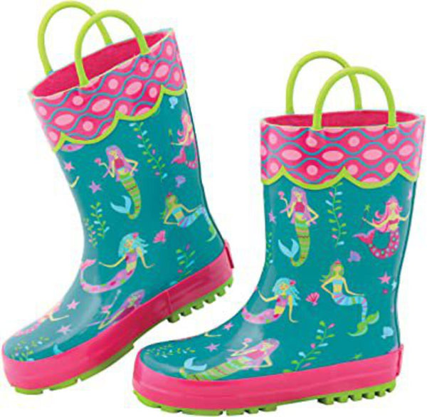 Size 9: Stephen Joseph All Over Print NEW Rainboots - Mermaids